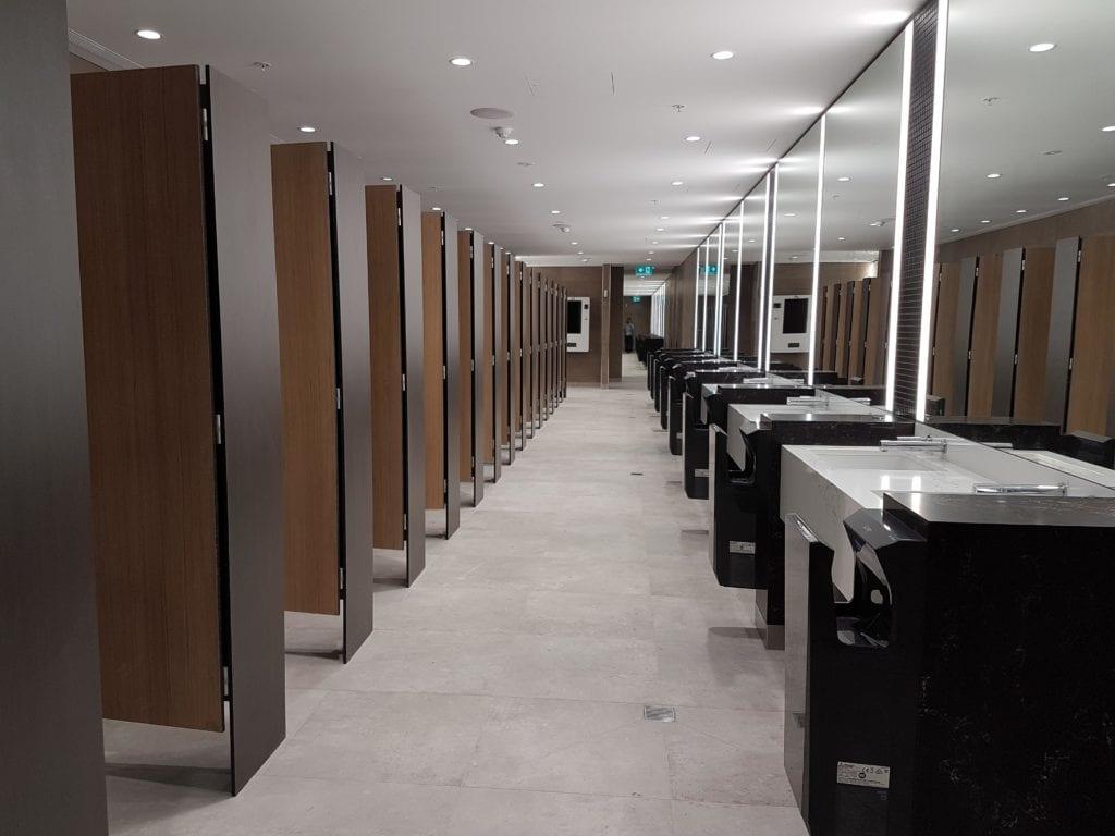 Vách ngăn vệ sinh Compact HPL vân gỗ