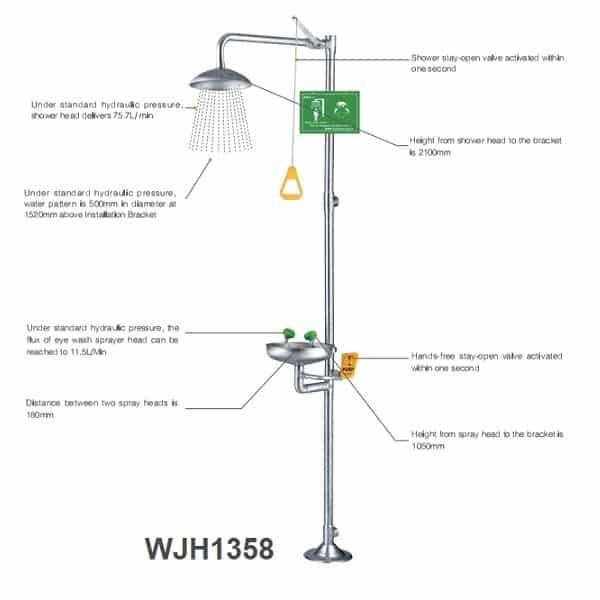 Bồn rửa mắt kết hợp tắm khẩn cấp WJH1358