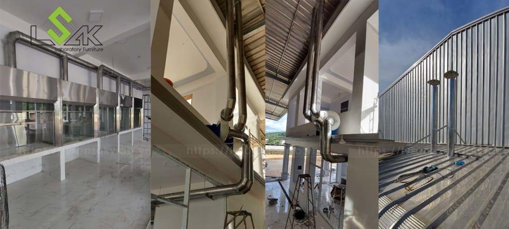Thi công lắp đặt đường ống tủ hút khí độc