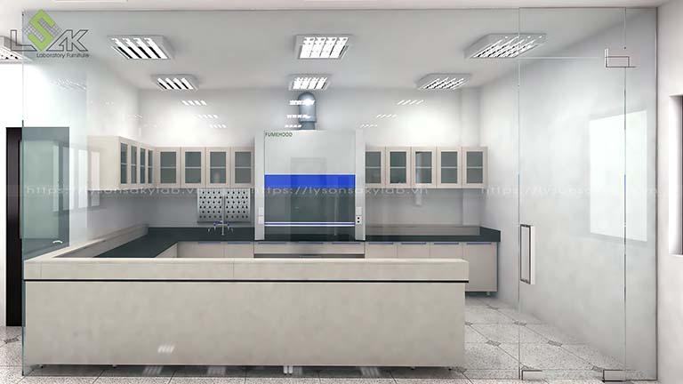 Tủ hút khí độc trong phòng lab có đèn trần