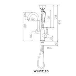 kích thước vòi rửa mắt khẩn cấp kết hợp vòi nước WJH0711D