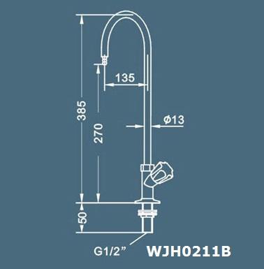 kích thước vòi rửa 1 nhánh phòng thí nghiệm wjh0211b