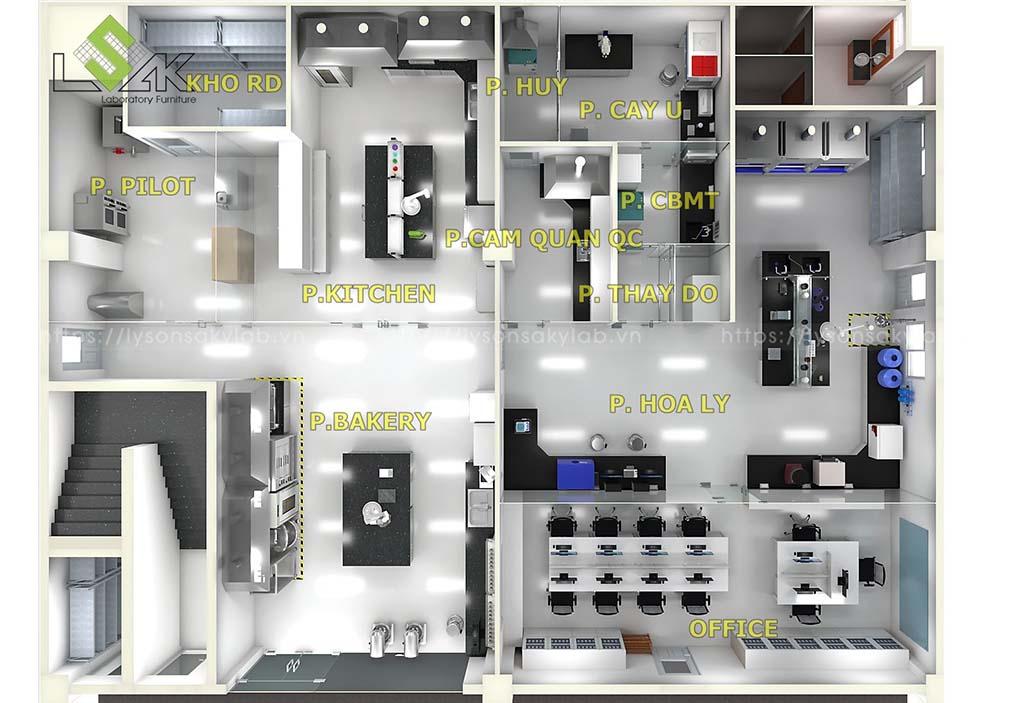 Thiết kế phòng QMS, QC nhà máy thực phẩm 2021