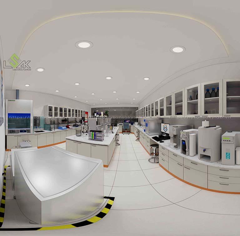 Nội thất phòng thí nghiệm thiết kế tone màu trắng