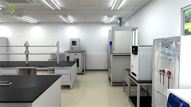 Bàn thí nghiệm trung tâm, tủ hút hóa chất, kệ đặt thiết bị, bồn rửa inox