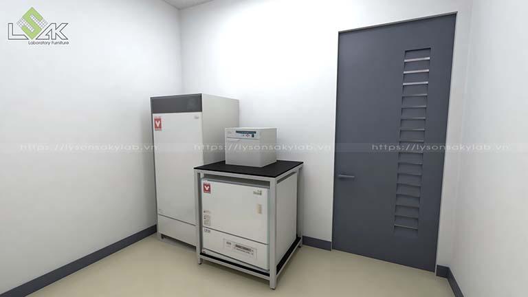 Tủ đựng hóa chất cửa lùa và xe đẩy inox phòng thí nghiệm