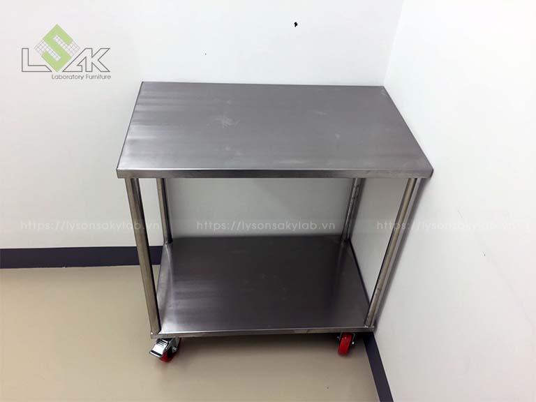 Xe đẩy inox phòng thí nghiệm – Clean room inox cart 750x450x800mm LxDxH