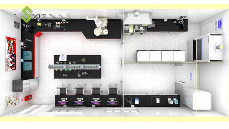 Phối cảnh 3D thiết kế nội thất phòng thí nghiệm cho nhà máy sản xuất dầu nhớt vilube