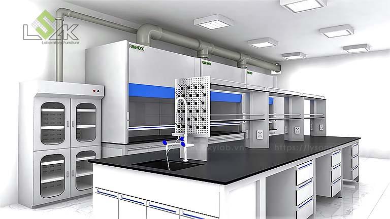Thiết kế bàn thí nghiệm trung tâm phòng thí nghiệm MAXIHUB