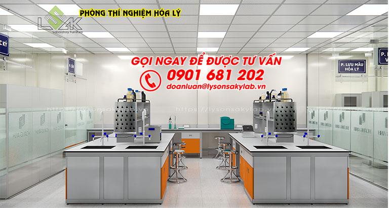 Bàn thí nghiệm trung tâm có kệ và bồn rửa phòng thí nghiệm hóa lý