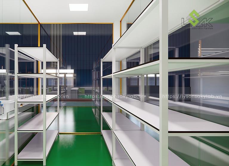 Kệ lưu mẫu kho lưu trữ nguyên liệu thiết kế phòng thí nghiệm thuốc cho gia súc, gia cầm
