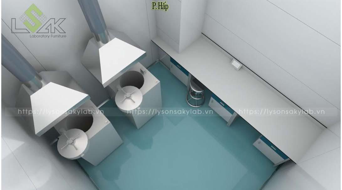 Phòng hấp bàn cân nội thất phòng lab nhà máy sản xuất thuốc thú y - thủy sản UV Việt Nam