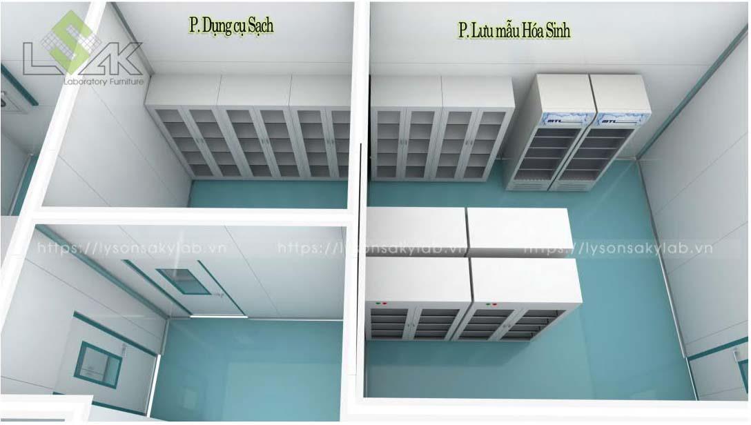 Tủ đựng dụng cụ, tủ đựng hóa chất nội thất phòng lab nhà máy sản xuất thuốc thú y - thủy sản UV Việt Nam