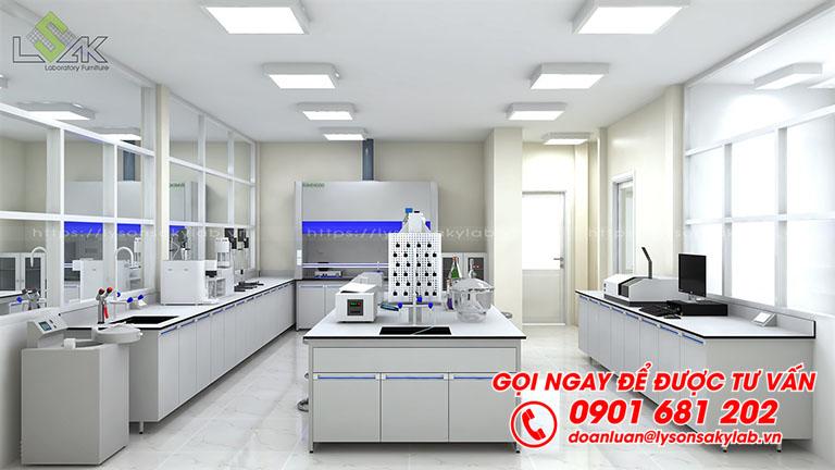 Bàn thí nghiệm trung tâm có kệ hóa chất 2 tầng