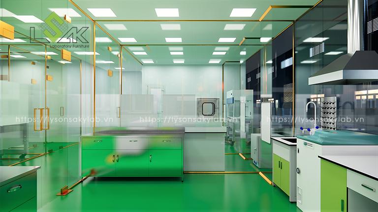Khu chuẩn bị mẫu vi sinh trang bị bàn inox và tủ chuyển mẫu