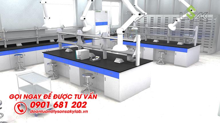 Bàn thí nghiệm trung tâm có kệ trên bàn, phía trên có gắng chụp hút khí di động phòng thí nghiệm nhà máy sản xuất mực in GREAT WORLD INK