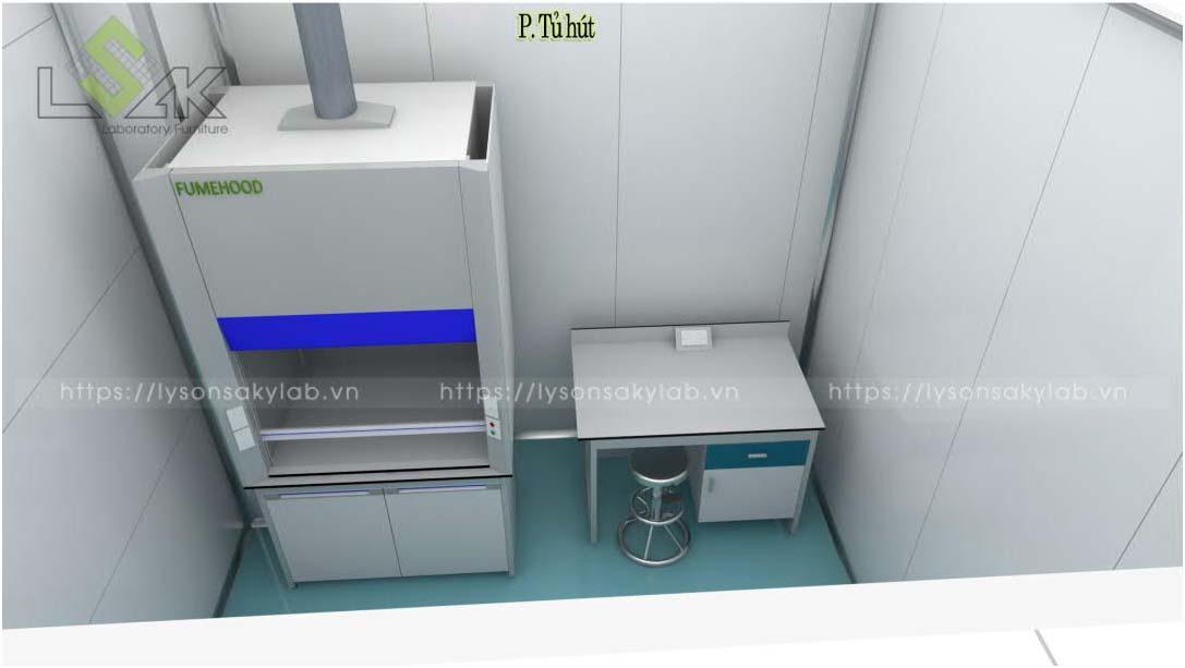 Tủ hút khí độc thiết kế nội thất phòng lab nhà máy sản xuất thuốc thú y - thủy sản UV Việt Nam