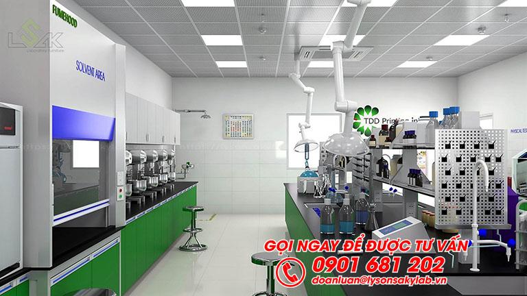 Bàn thí nghiệm trung tâm có bồn rửa và kệ hóa chất phòng lab mực in trong công nghiệp bao bì