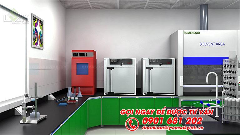 Tủ hút khí độc thiết kế phòng lab mực in trong công nghiệp bao bì
