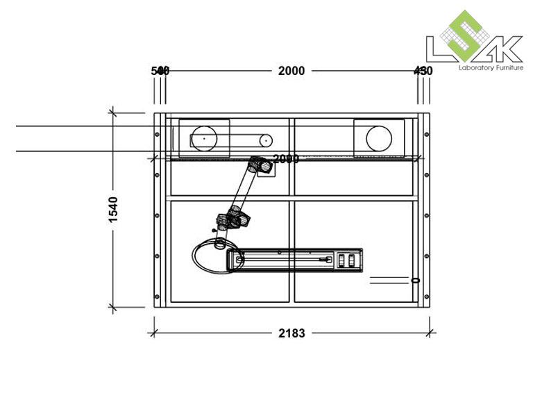 Bản vẽ 2D chụp hút bụi cho phòng cân- Dust Booth for powder pre-batching