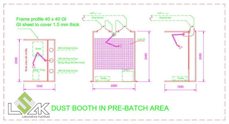 Bản vẽ 2D chụp hút bụi cho phòng cân mẫu- Dust Booth for powder pre-batching