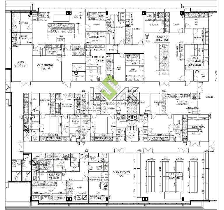 Bản vẽ thiết kế nội thất phòng lab nhà máy sản xuất thuốc thú y - thủy sản UV Việt Nam