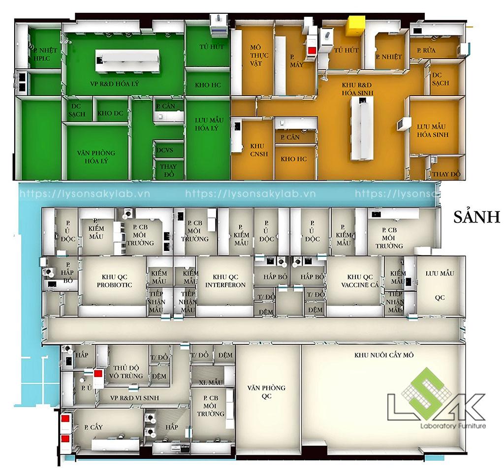 Bản vẽ 3D thiết kế nội thất phòng lab nhà máy sản xuất thuốc thú y - thủy sản UV Việt Nam