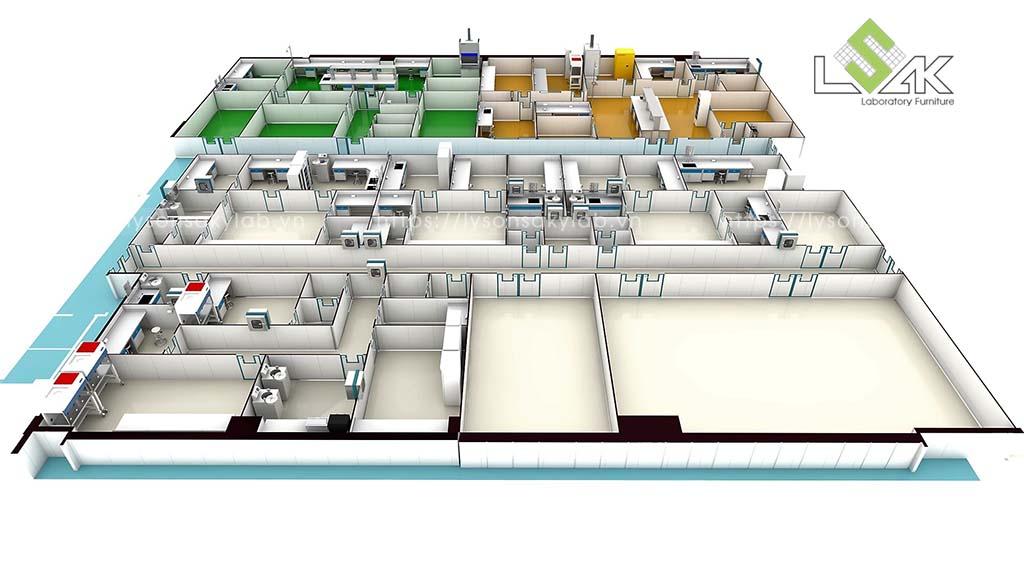 Thiết kế nội thất phòng thí nghiệm nhà máy sản xuất thuốc thú y - thủy sản UV Việt Nam