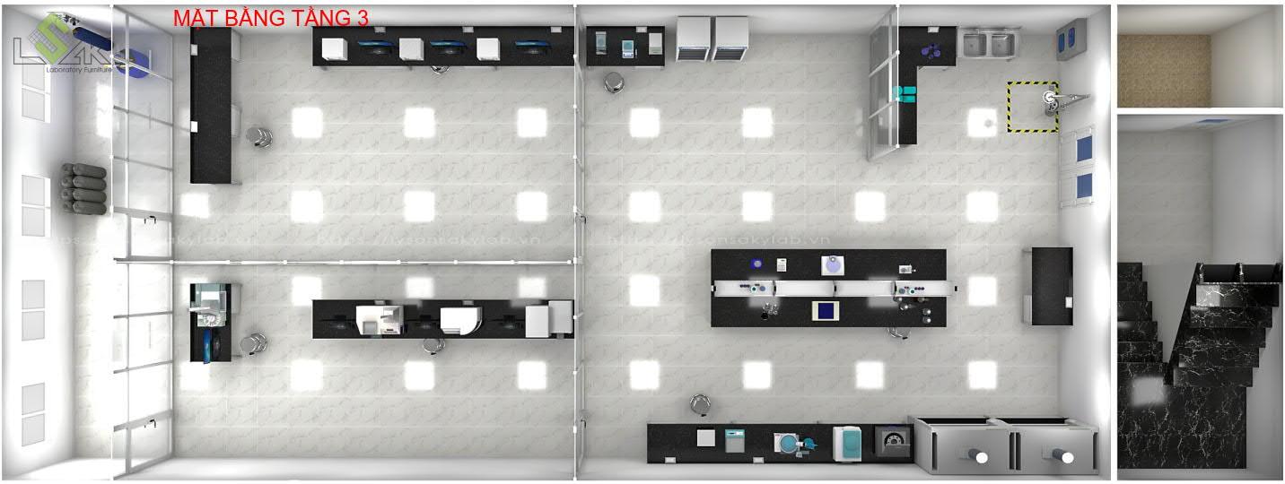 Bố trí mặt bằng nội thất phòng lab tầng 3