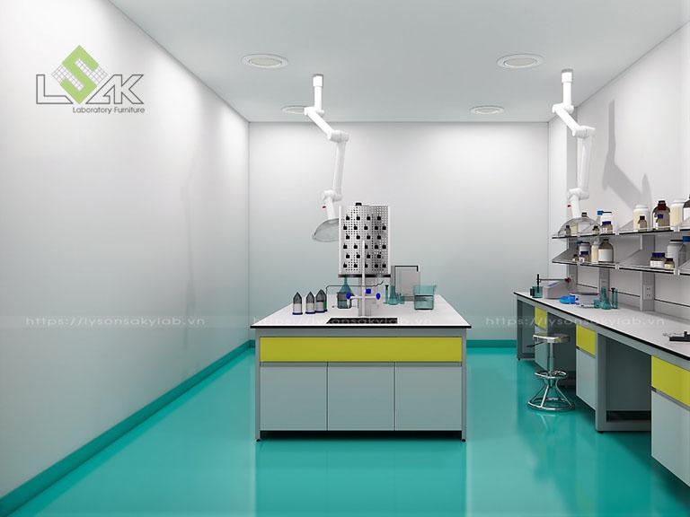 Thiết kế bàn thí nghiệm phòng lab nghiên cứu và phát triển các sản phẩm phụ gia hoá chất xây dựng