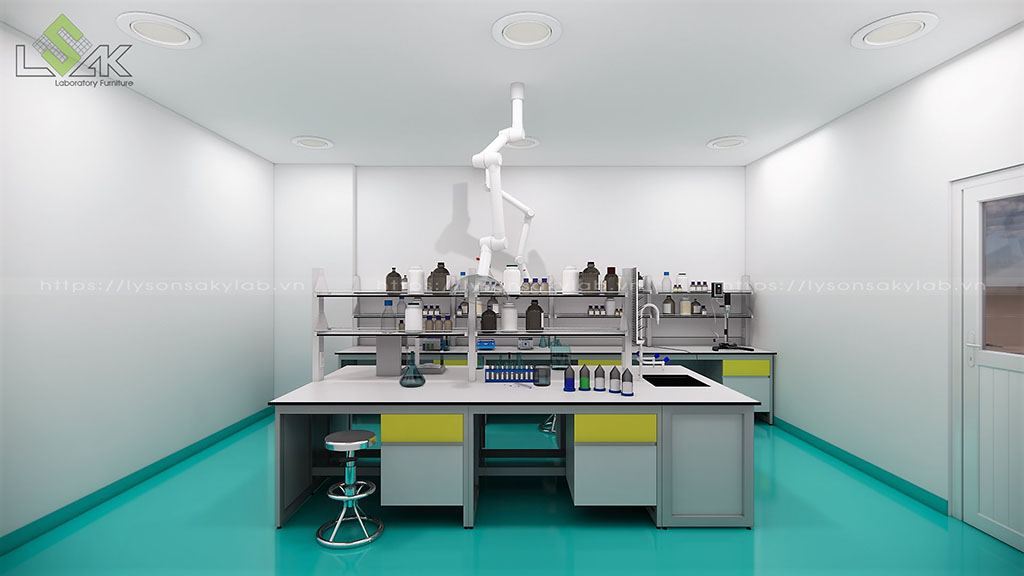 Thiết kế bàn thí nghiệm trung tâm có giá kệ hóa chất phòng lab nghiên cứu và phát triển các sản phẩm phụ gia hoá chất xây dựng