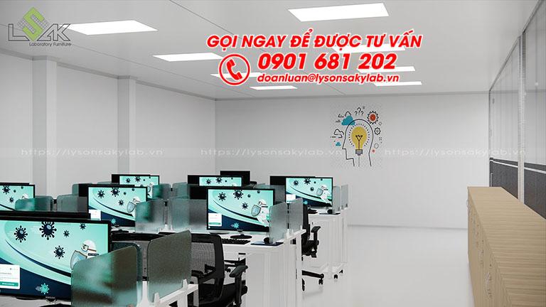 Thiết kế phòng làm việc phòng R&D dược phẩm, mỹ phẩm
